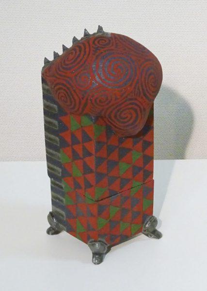 No.5赤い絵の有蓋器(DM)